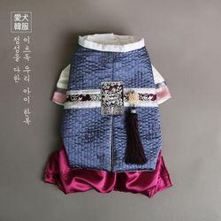도화 누빔 쾌자 한복 (곤색)
