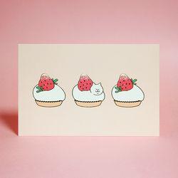 베리베리 식빵뚱냥 타르트 엽서 - 딸기 타르트