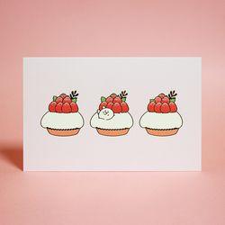 베리베리 식빵뚱냥 타르트 엽서 - 라즈베리 타르트