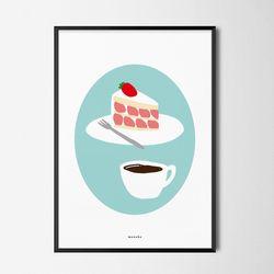 유니크 인테리어 디자인 포스터 M 딸기케�弱� 커피 A3(중형)