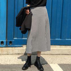 FRESH A gingham slit skirt (s m)