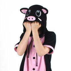 반팔 동물잠옷 돼지 (블랙)  복돼지