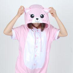 반팔 동물잠옷 곰 (핑크)