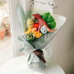 다이노소어 공룡꽃다발-티라노브라키오킨더조이꽃다발