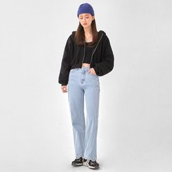 song basic warm crop hood zip-up