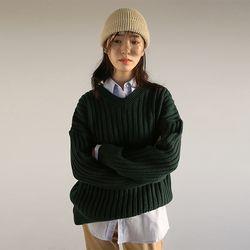 v-neck ribbed drop knit