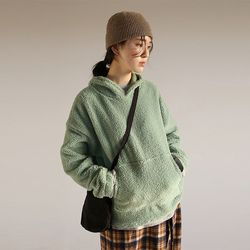 soft fuzzy hoodie top (2colors)