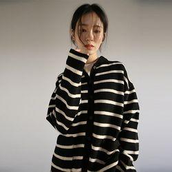 stripe collar knit cardigan (3colors)