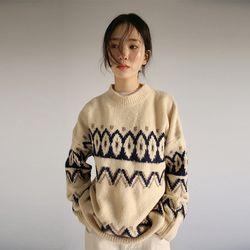 geometric pattern knit (2colors)