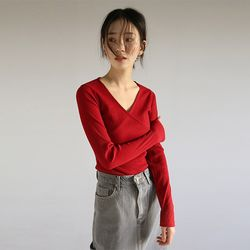 wrap design ribbed top (2colors)