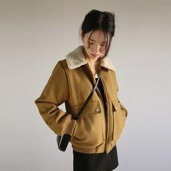 fuzzy collar pocket jumper (2colors)