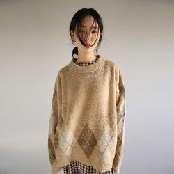 argyle pattern fluffy knit (2colors)