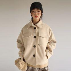 patch pocket knit jacket (2colors)