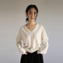 v-neck basic wool knit (4colors)