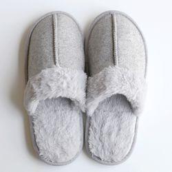 light gray fur slipper