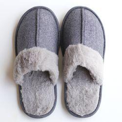 grayblue fur slipper