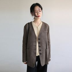 non collar herringbone hm jacket (brown)