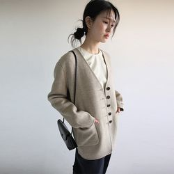 non collar herringbone hm jacket (beige)
