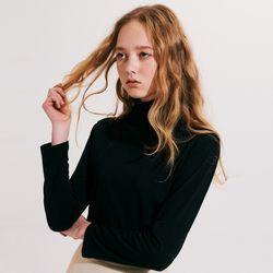우먼 스탠다드 슬림 목폴라 티셔츠 블랙