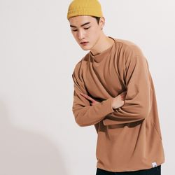 (UNISEX) 스탠다드 박시 랩핑 롱슬리브 티셔츠 브라운