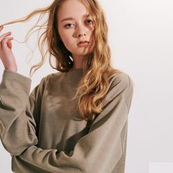 (UNISEX) 스탠다드 박시 랩핑 롱슬리브 티셔츠 카키