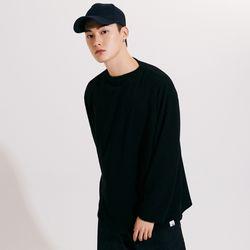 (UNISEX) 스탠다드 박시 랩핑 롱슬리브 티셔츠 블랙
