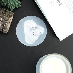 방수 컵받침 TPU 티코스터 2P 세트 폴라베어