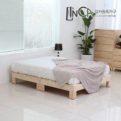 편백나무 원목 평상형 침대 퀸사이즈