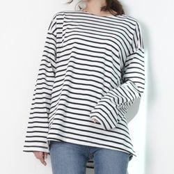 P7625 코튼 루즈 스트라이프 티셔츠