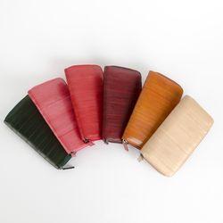 P7579 천연 장어가죽 비비드 장지갑(6color)