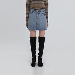 title denim mini skirt (3colors)