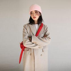 slim long double coat (beige)