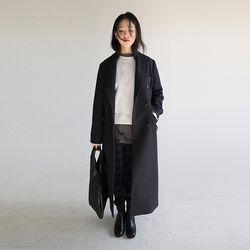 slim long double coat (navy)