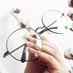 그라데이션 빈티지 메탈 오버렌즈 둥근 안경