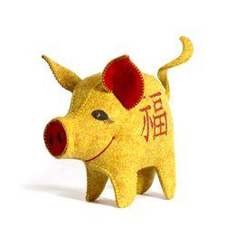 [일구돼지인형] 황금 복돼지-돼지인형수제완성품