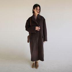 hidden button over coat (brown)