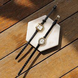 제이로렌 9ETC0014 유광 블랙가죽 빈티지 골드시계