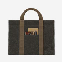 스퀘어 서류가방 - 왁스캔버스 ( 챠콜 )