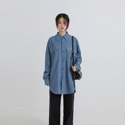 light boxy denim shirt