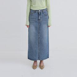 chunky maxi denim skirt (2colors)