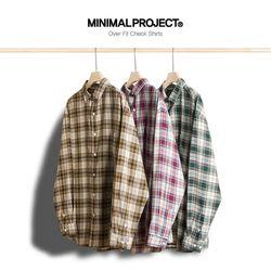 미니멀프로젝트 오버핏 체크 셔츠 MLS206  3color