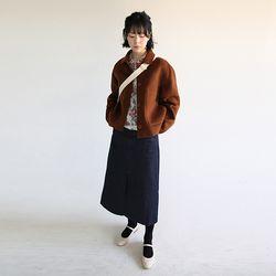 simple raw denim skirt (2colors)