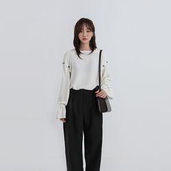 arm button slit blouse (2colors)