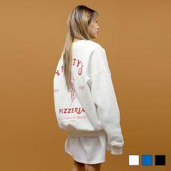 2412 남녀공용 기모 피자 오버핏 맨투맨 (3colors)