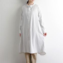 리라식: 풍성한 실루엣 스트라이프 코튼 사계절 롱셔츠 원피스