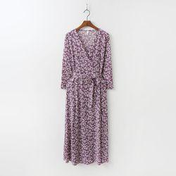 Small Flower Wrap Long Dress