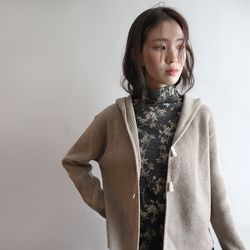 toggle button hoody cardigan (3colors)