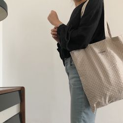 beige grey check bag ( hand made )