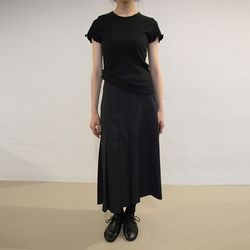 button-up pleats long skirt (2colors)