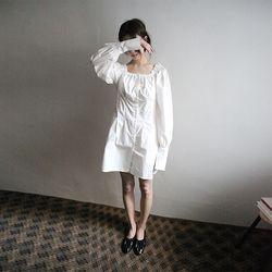 off-shoulder cotton mini dress (3colors)
